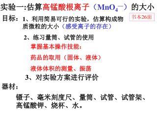 实验一 : 估算 高锰酸根离子 ( MnO 4 — ) 的大小
