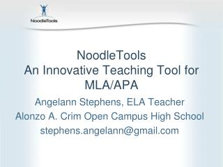 NoodleTools An Innovative Teaching Tool for MLA/APA