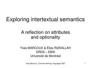 Exploring intertextual semantics