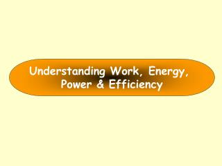 Understanding Work, Energy,  Power & Efficiency