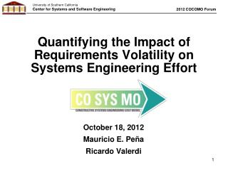 Quantifying the Impact of Requirements Volatility on Systems Engineering Effort
