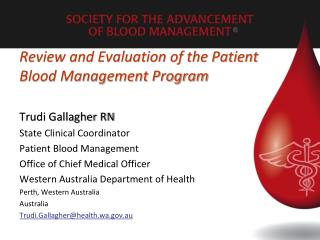 Review and Evaluation of the Patient Blood Management Program