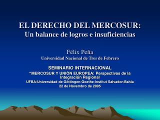 """SEMINARIO INTERNACIONAL """"MERCOSUR Y UNIÓN EUROPEA: Perspectivas de la Integración Regional"""
