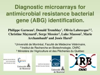 Diagnostic microarrays for antimicrobial resistance bacterial gene ABG identification.