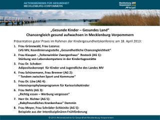 """""""Gesunde Kinder – Gesundes Land"""" Chancengleich gesund aufwachsen in Mecklenburg-Vorpommern"""