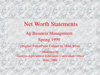 Net Worth Statements