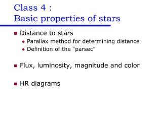 Class 4 :  Basic properties of stars
