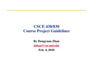 CSCE 430/830  Course Project Guidelines