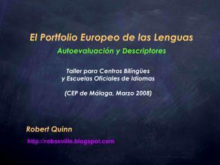 El Portfolio Europeo de las Lenguas Autoevaluación y Descriptores