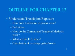 OUTLINE FOR CHAPTER 13