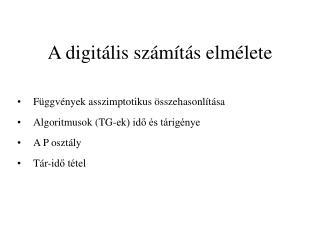 A digit�lis sz�m�t�s elm�lete
