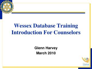 Wessex Database Training Introduction For Counselors