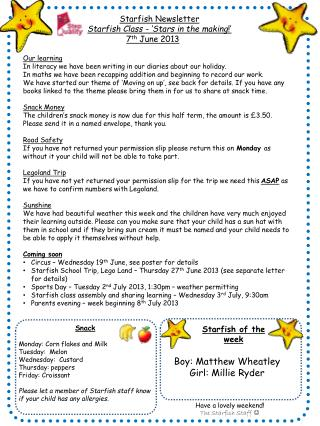Starfish Newsletter Starfish Class - 'Stars in the making !'