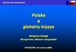 Polska a globalny kryzys  Waldemar Pawlak Wicepremier, Minister Gospodarki