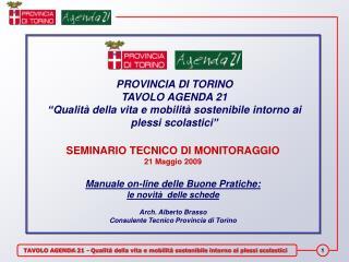 PROVINCIA DI TORINO TAVOLO AGENDA 21
