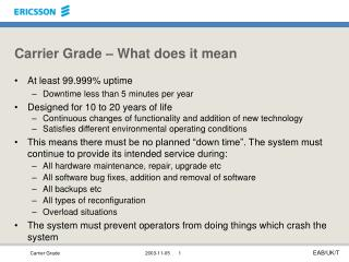 Carrier Grade   What does it mean