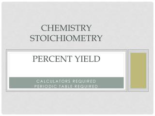 Chemistry stoichiometry PerCENT  YIELD