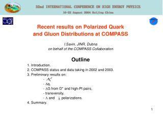 Recent results on Polarized Quark  and Gluon Distributions at COMPASS I.Savin, JINR, Dubna