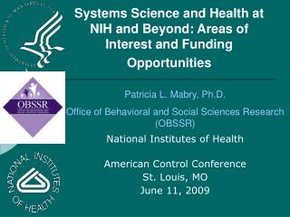 Systems Science Developments at the National Institutes of Health