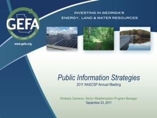 Public Information Strategies 2011 NASCSP Annual Meeting