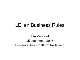 LEI en Business Rules