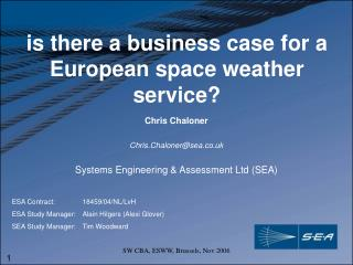 is there a business case for a European space weather service?