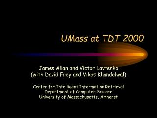 UMass at TDT 2000