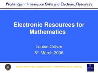 Electronic Resources for Mathematics