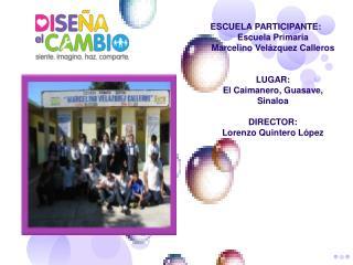 ESCUELA PARTICIPANTE: Escuela Primaria  Marcelino Velázquez Calleros LUGAR:
