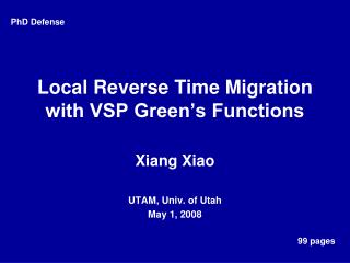 Local Reverse Time Migration with VSP Green�s Functions