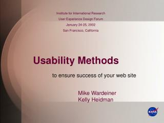 Usability Methods