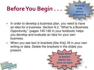 Before You Begin . . .