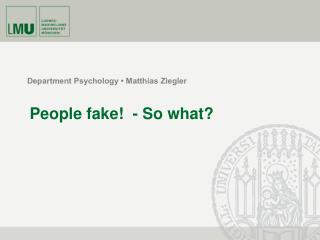 Department Psychology   Matthias Ziegler