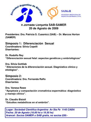 II Jornada Conjunta SAB-SAMER  20 de Agosto de 2009