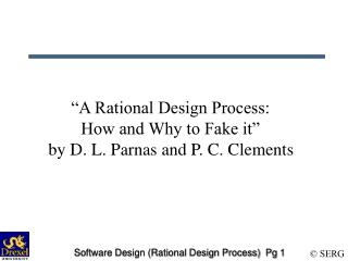 Software Design Rational Design Process  Pg 1