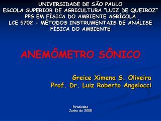 Greice Ximena S. Oliveira Prof. Dr. Luiz Roberto Angelocci Piracicaba Junho de 2005