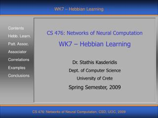 WK7 – Hebbian Learning