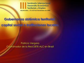 Gobernanza sistémica territorial:  capital social e instituciones locales
