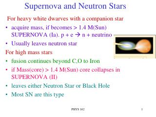 Supernova and Neutron Stars