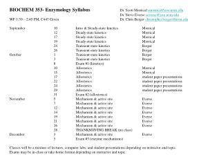 BIOCHEM 353- Enzymology Syllabus Dr. Scott Morrical  smorrica@zoo.uvm