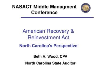 American Recovery & Reinvestment Act North Carolina's Perspective