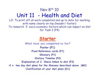 Starter What have you completed so far? Poster (P1) Food Reference cards (P1) Glossary (P1)