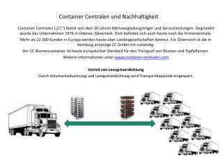 Container Centralen und Nachhaltigkeit