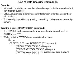 Use of Data Security Commands Security: