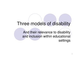Three models of disability