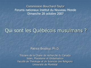 Qui sont les Québécois musulmans ?