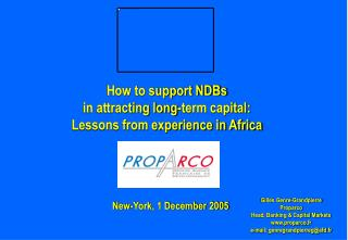 How to support NDBs  in attracting long-term capital:  Lessons from experience in Africa