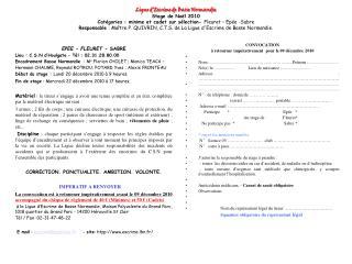 EPEE - FLEURET  - SABRE Lieu: C.S.N d'Houlgate – Tél: 02.31.28.80.00