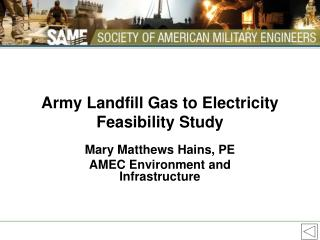 Army Landfill Gas to Electricity Feasibility Study