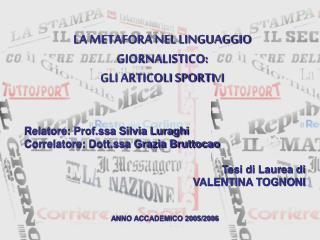 LA METAFORA NEL LINGUAGGIO GIORNALISTICO: GLI ARTICOLI SPORTI V I